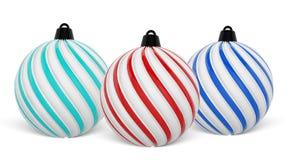 Σφαίρα Χριστουγέννων στα διαφορετικά χρώματα Στριμμένες σφαίρες Χριστουγέννων στο άσπρο υπόβαθρο τρισδιάστατη απόδοση διανυσματική απεικόνιση