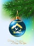 Σφαίρα Χριστουγέννων στη διανυσματική απεικόνιση κλάδων του FIR Στοκ φωτογραφία με δικαίωμα ελεύθερης χρήσης