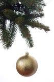 Σφαίρα Χριστουγέννων στον κλάδο ενός δέντρου έλατου που απομονώνεται ενάντια στο μόριο Στοκ εικόνες με δικαίωμα ελεύθερης χρήσης