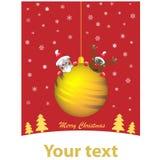 Σφαίρα Χριστουγέννων στο κόκκινο υπόβαθρο ελεύθερη απεικόνιση δικαιώματος