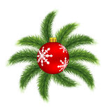 Σφαίρα Χριστουγέννων στο πεύκο διανυσματική απεικόνιση