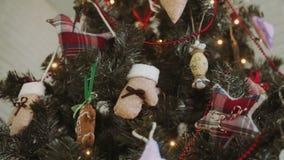 Σφαίρα Χριστουγέννων χριστουγεννιάτικων δέντρων εγχώριων ντεκόρ απόθεμα βίντεο