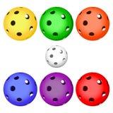 Σφαίρα χρώματος floorball για το λογότυπο η ομάδα και το φλυτζάνι Στοκ Φωτογραφίες