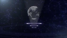 Σφαίρα ψηφιακών στοιχείων - αφηρημένη απεικόνιση μιας επιστημονικής τεχνολογίας Δίκτυο δεδομένων Περιβάλλων πλανήτης Γη σε τρία απεικόνιση αποθεμάτων