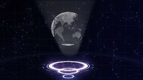 Σφαίρα ψηφιακών στοιχείων - αφηρημένη απεικόνιση μιας επιστημονικής τεχνολογίας Δίκτυο δεδομένων Περιβάλλων πλανήτης Γη σε τρία απόθεμα βίντεο