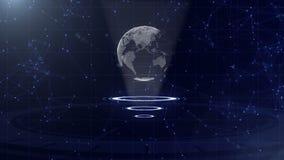 Σφαίρα ψηφιακών στοιχείων - αφηρημένη απεικόνιση μιας επιστημονικής τεχνολογίας Δίκτυο δεδομένων Περιβάλλων πλανήτης Γη σε τρία ελεύθερη απεικόνιση δικαιώματος