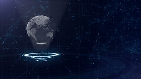 Σφαίρα ψηφιακών στοιχείων - αφηρημένη απεικόνιση μιας επιστημονικής τεχνολογίας Δίκτυο δεδομένων Περιβάλλων πλανήτης Γη σε τρία