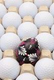 Σφαίρες γκολφ στο κιβώτιο για τα αυγά και τη διακόσμηση Πάσχας Στοκ φωτογραφία με δικαίωμα ελεύθερης χρήσης