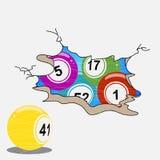 Σφαίρες λαχειοφόρων αγορών Bingo που επισύρουν την προσοχή το ύφος στο ραγισμένο υπόβαθρο απεικόνιση αποθεμάτων