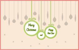 Σφαίρες με τη Χαρούμενα Χριστούγεννα και καλή χρονιά Στοκ φωτογραφίες με δικαίωμα ελεύθερης χρήσης