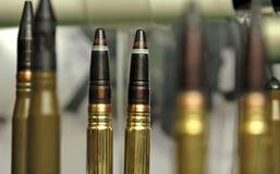 Σφαίρες πολυβόλων που εκτίθενται σε μια επίδειξη Στοκ Φωτογραφίες