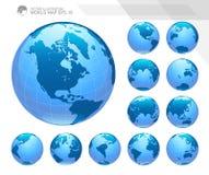Σφαίρες που παρουσιάζουν γη με όλες τις ηπείρους Ψηφιακό διάνυσμα παγκόσμιων σφαιρών Διαστιγμένο διάνυσμα παγκόσμιων χαρτών απεικόνιση αποθεμάτων