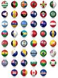 Σφαίρες ποδοσφαίρου ποδοσφαίρου με τις συστάσεις εθνικών σημαιών Στοκ φωτογραφίες με δικαίωμα ελεύθερης χρήσης