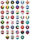 Σφαίρες ποδοσφαίρου ποδοσφαίρου με τις συστάσεις εθνικών σημαιών Στοκ εικόνες με δικαίωμα ελεύθερης χρήσης