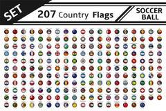 207 σφαίρες ποδοσφαίρου σημαιών χωρών ελεύθερη απεικόνιση δικαιώματος