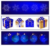 Σφαίρες Χριστουγέννων και κιβώτια δώρων Στοκ Φωτογραφία