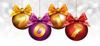 Σφαίρες Χριστουγέννων με την κορδέλλα και το χρυσό κείμενο του 2017 θολωμένος διανυσματική απεικόνιση