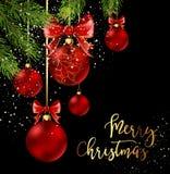 Σφαίρες Χριστουγέννων με την κόκκινα κορδέλλα και τα τόξα Στοκ Εικόνα