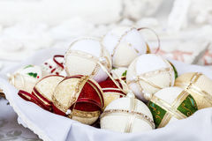 Σφαίρες Χριστουγέννων με τις συστάσεις Στοκ φωτογραφία με δικαίωμα ελεύθερης χρήσης