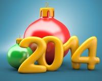 Σφαίρες Χριστουγέννων με 2014 ψηφία ελεύθερη απεικόνιση δικαιώματος