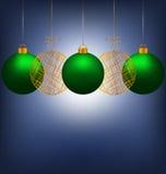 Σφαίρες Χριστουγέννων στο μπλε διανυσματική απεικόνιση