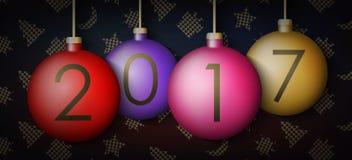 Σφαίρες Χριστουγέννων στο υπόβαθρο με τα νέα στοιχεία έτους Στοκ φωτογραφία με δικαίωμα ελεύθερης χρήσης