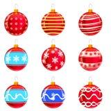 Σφαίρες Χριστουγέννων Colorfull με τις διακοσμήσεις, διαφορετικά χρώματα, που απομονώνονται στο λευκό Σύνολο επίσης corel σύρετε  ελεύθερη απεικόνιση δικαιώματος