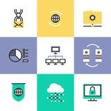 Σφαιρικά εικονίδια εικονογραμμάτων τεχνολογίας στοιχείων καθορισμένα ελεύθερη απεικόνιση δικαιώματος