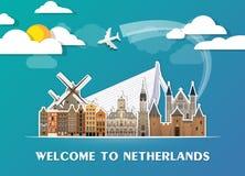 Σφαιρικά ταξίδι ολλανδικών ορόσημων και υπόβαθρο εγγράφου ταξιδιών σαν συμπαθητικό πρότυπο μερών σχεδίου stiker για να χρησιμοποι Στοκ Εικόνες