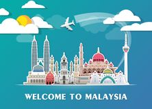 Σφαιρικά ταξίδι ορόσημων της Μαλαισίας και υπόβαθρο εγγράφου ταξιδιών σαν συμπαθητικό πρότυπο μερών σχεδίου stiker για να χρησιμο Στοκ φωτογραφίες με δικαίωμα ελεύθερης χρήσης