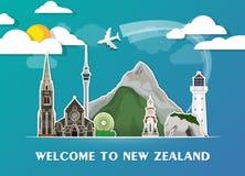 Σφαιρικά ταξίδι ορόσημων της Νέας Ζηλανδίας και υπόβαθρο εγγράφου ταξιδιών σαν συμπαθητικό πρότυπο μερών σχεδίου stiker για να χρ Στοκ εικόνα με δικαίωμα ελεύθερης χρήσης
