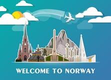 Σφαιρικά ταξίδι ορόσημων της Νορβηγίας και υπόβαθρο εγγράφου ταξιδιών σαν συμπαθητικό πρότυπο μερών σχεδίου stiker για να χρησιμο Στοκ Εικόνα