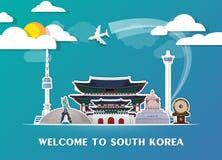 Σφαιρικά ταξίδι ορόσημων της Νότιας Κορέας και υπόβαθρο εγγράφου ταξιδιών σαν συμπαθητικό πρότυπο μερών σχεδίου stiker για να χρη Στοκ Εικόνες