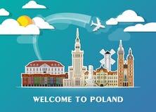 Σφαιρικά ταξίδι ορόσημων της Πολωνίας και υπόβαθρο εγγράφου ταξιδιών σαν συμπαθητικό πρότυπο μερών σχεδίου stiker για να χρησιμοπ Στοκ Εικόνα