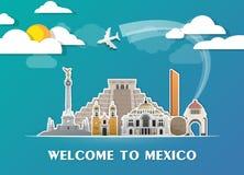 Σφαιρικά ταξίδι ορόσημων του Μεξικού και υπόβαθρο εγγράφου ταξιδιών σαν συμπαθητικό πρότυπο μερών σχεδίου stiker για να χρησιμοπο Στοκ φωτογραφίες με δικαίωμα ελεύθερης χρήσης