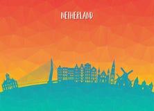 Σφαιρικά ταξίδι ορόσημων Netherland και υπόβαθρο εγγράφου ταξιδιών Στοκ Φωτογραφία