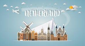 Σφαιρικά ταξίδι ορόσημων Netherland και υπόβαθρο εγγράφου ταξιδιών Στοκ Εικόνες