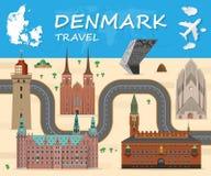 Σφαιρικά ταξίδι ορόσημων της Δανίας και διάνυσμα Infographic ταξιδιών Στοκ εικόνα με δικαίωμα ελεύθερης χρήσης