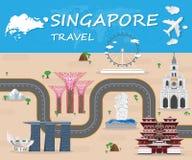 Σφαιρικά ταξίδι ορόσημων της Σιγκαπούρης και διάνυσμα Infographic ταξιδιών Στοκ Φωτογραφίες
