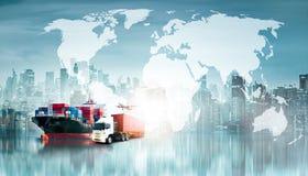 Σφαιρικά υπόβαθρο εισαγωγής-εξαγωγής επιχειρησιακών διοικητικών μεριμνών και σκάφος φορτίου φορτίου εμπορευματοκιβωτίων στοκ εικόνα