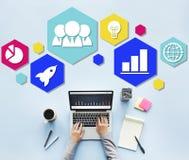 Σφαιρική έννοια εικονιδίων προγραμματισμού επιχειρησιακής στρατηγικής Στοκ Εικόνα