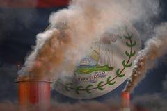 Σφαιρική έννοια θέρμανσης - βαρύς καπνός από τους σωλήνες βιομηχανίας στο υπόβαθρο σημαιών της Μπελίζ με τη θέση για το λογότυπό  απεικόνιση αποθεμάτων
