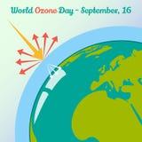 Σφαιρική έννοια θέρμανσης για την ημέρα παγκόσμιου όζοντος στο ύφος κινούμενων σχεδίων 16 Σεπτεμβρίου επίσης corel σύρετε το διάν Στοκ φωτογραφία με δικαίωμα ελεύθερης χρήσης