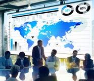 Σφαιρική έννοια παγκόσμιων χαρτών αύξησης επιχειρησιακών γραφικών παραστάσεων Στοκ Εικόνα