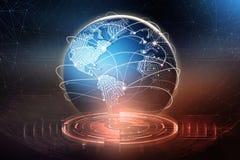 Σφαιρική ανταλλαγή στοιχείων Σχηματισμός ενός πλανητικού δικτύου επικοινωνίας ελεύθερη απεικόνιση δικαιώματος