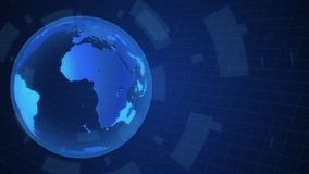 Σφαιρική γη που περιστρέφεται το ψηφιακό υπόβαθρο στούντιο παγκόσμιων ειδήσεων για τα έκτακτα γεγονότα εκθέσεων ειδήσεων απεικόνιση αποθεμάτων