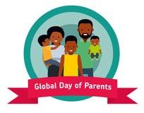 Σφαιρική ημέρα του εμβλήματος ή της αυτοκόλλητης ετικέττας γονέων Ευτυχείς πρόγονοι με τα παιδιά ελεύθερη απεικόνιση δικαιώματος