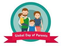 Σφαιρική ημέρα του εμβλήματος ή της αυτοκόλλητης ετικέττας γονέων Ευτυχείς πρόγονοι με τα παιδιά απεικόνιση αποθεμάτων