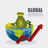 Σφαιρική οικονομία, χρήματα και επιχείρηση Στοκ εικόνα με δικαίωμα ελεύθερης χρήσης