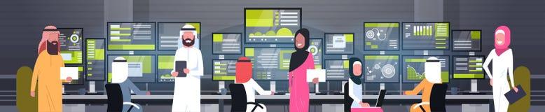 Σφαιρική σε απευθείας σύνδεση εμπορική ομάδα ανθρώπων έννοιας αραβική που εργάζεται με το οριζόντιο έμβλημα πωλήσεων ελέγχου χρημ διανυσματική απεικόνιση